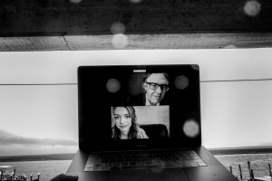 Nadia Reiman appears on computer screen alongside Ira Glass