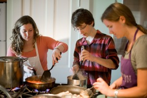 Students prepare a meal